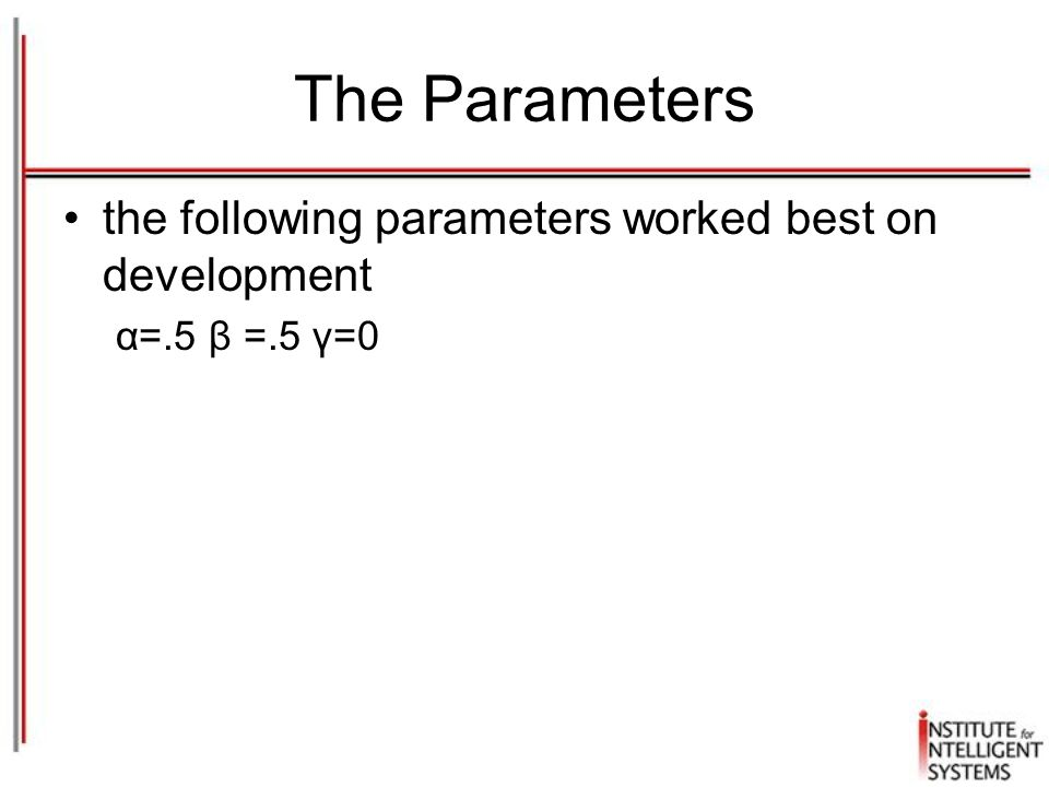 The Parameters the following parameters worked best on development α=.5 β =.5 γ=0