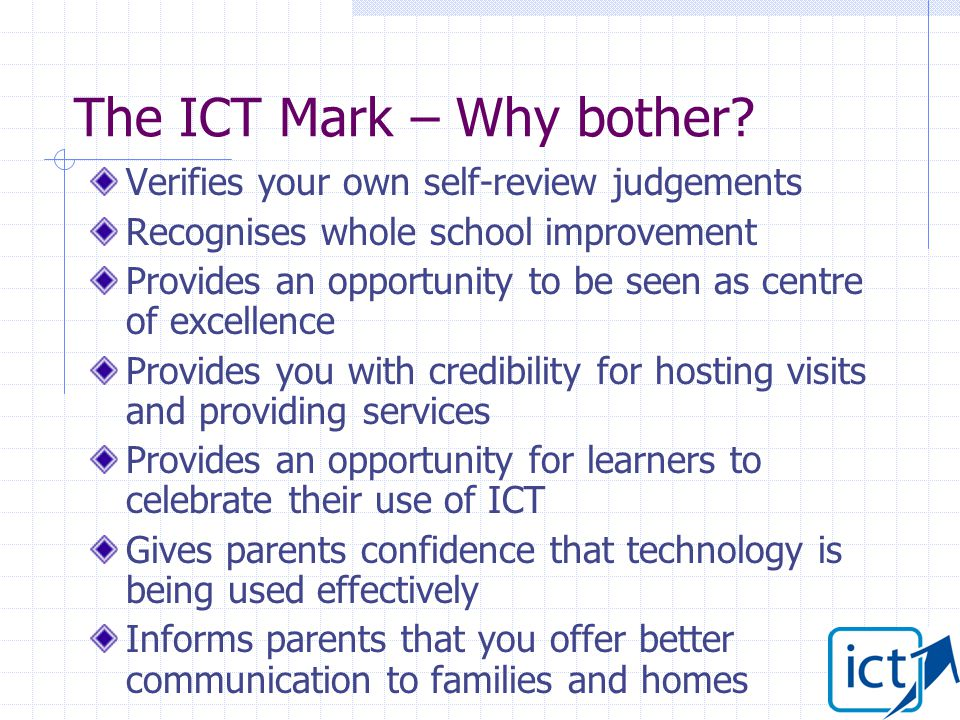 The ICT Mark – Why bother.