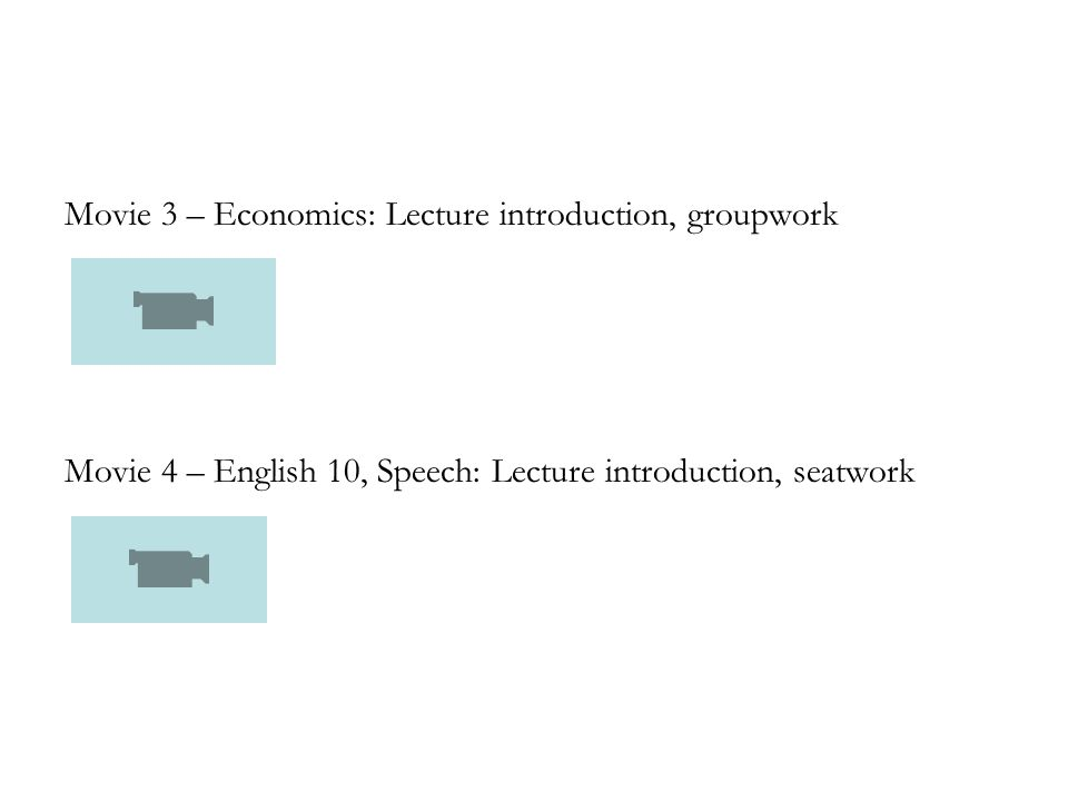 Movie 3 – Economics: Lecture introduction, groupwork Movie 4 – English 10, Speech: Lecture introduction, seatwork