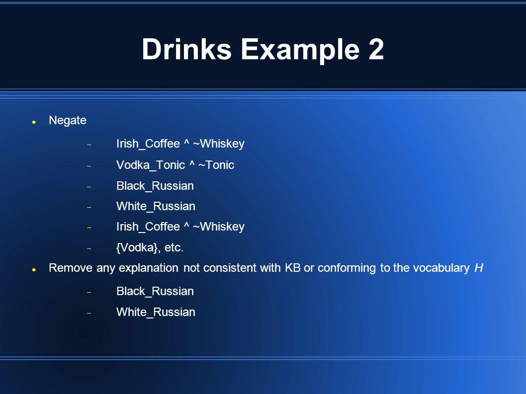 Drinks Example 2 Negate  Irish_Coffee ^ ~Whiskey  Vodka_Tonic ^ ~Tonic  Black_Russian  White_Russian  Irish_Coffee ^ ~Whiskey  {Vodka}, etc.