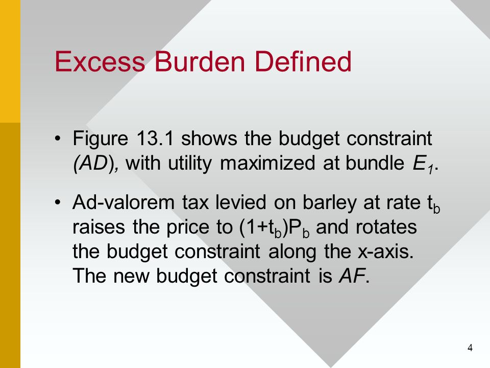 4 Excess Burden Defined Figure 13.1 shows the budget constraint (AD), with utility maximized at bundle E 1.