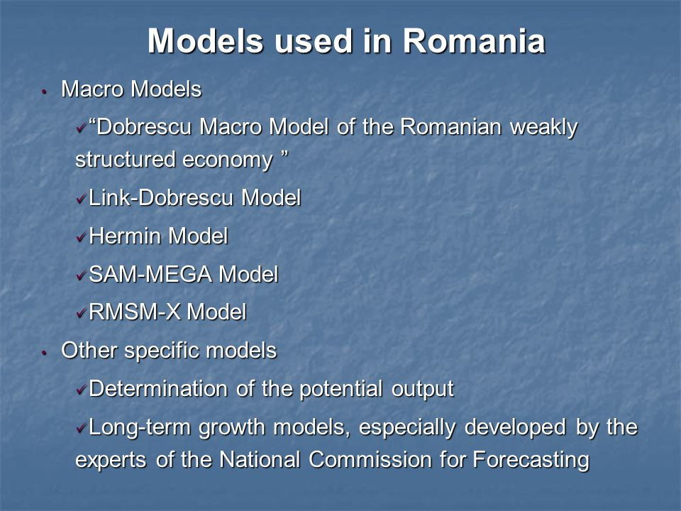 Some features of the model used for budgetary forecasts SAM-MEGA model is built on the relationships across macroeconomic indicators of the IMF financial modules and the modules of the institutional sectors (public, private and foreign sector): SAM-MEGA model is built on the relationships across macroeconomic indicators of the IMF financial modules and the modules of the institutional sectors (public, private and foreign sector): National Accounts Indicators (GDP and the aggregate incomes) «NatAcc»; National Accounts Indicators (GDP and the aggregate incomes) «NatAcc»; Public Accounts (General Consolidated Budget) «GovAcc»; Public Accounts (General Consolidated Budget) «GovAcc»; Labor Force Indicators (Unit labor cost, Compensation of employees) «Labor »; Labor Force Indicators (Unit labor cost, Compensation of employees) «Labor »; Foreign Sector (Exchange Rates, Balance of Payments, Romania's International Investment Position) «Foreign»; Foreign Sector (Exchange Rates, Balance of Payments, Romania's International Investment Position) «Foreign»; Monetary Sector (Monetary Survey) «MoneyAcc»; Monetary Sector (Monetary Survey) «MoneyAcc»; Private Sector, as a residual for the overall model «PrivSect»; Private Sector, as a residual for the overall model «PrivSect»;