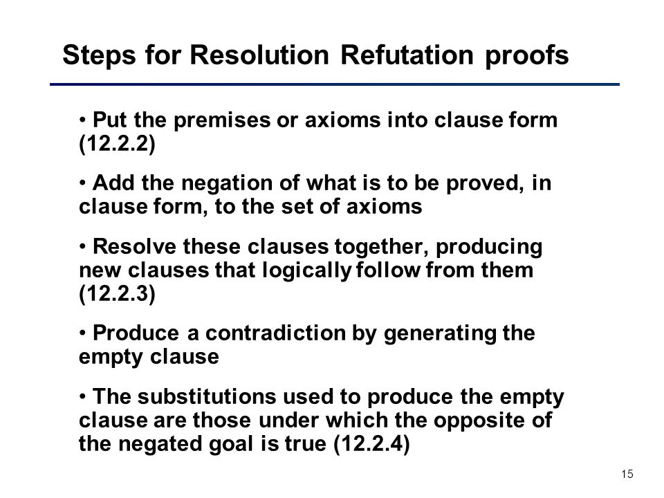 15 Steps for Resolution Refutation proofs Put the premises or axioms into clause form (12.2.2) Add the negation of what is to be proved, in clause for