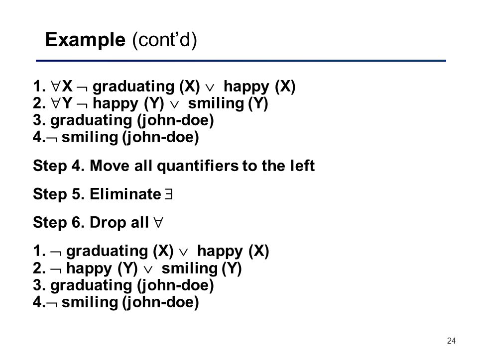24 Example (cont'd) 1.  X  graduating (X)  happy (X) 2.  Y  happy (Y)  smiling (Y) 3. graduating (john-doe) 4.  smiling (john-doe) Step 4. Move