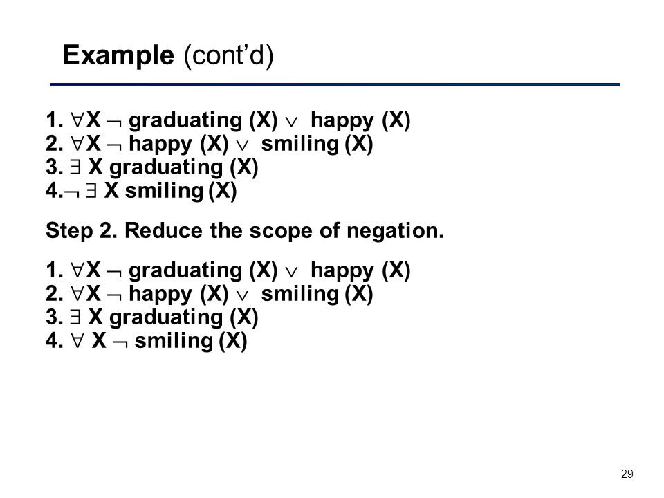29 Example (cont'd) 1.  X  graduating (X)  happy (X) 2.  X  happy (X)  smiling (X) 3.  X graduating (X) 4.   X smiling (X) Step 2. Reduce the