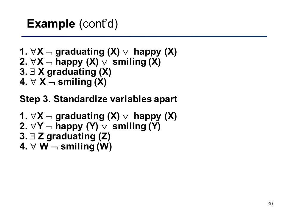 30 Example (cont'd) 1.  X  graduating (X)  happy (X) 2.  X  happy (X)  smiling (X) 3.  X graduating (X) 4.  X  smiling (X) Step 3. Standardiz