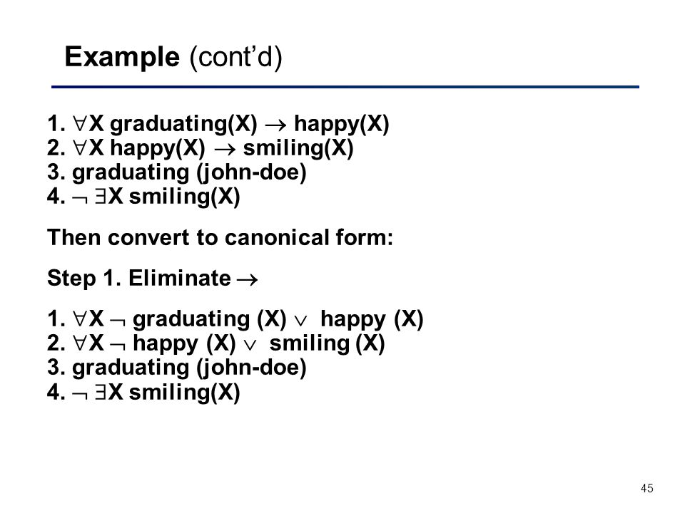 45 Example (cont'd) 1.  X graduating(X)  happy(X) 2.  X happy(X)  smiling(X) 3. graduating (john-doe) 4.   X smiling(X) Then convert to canonica