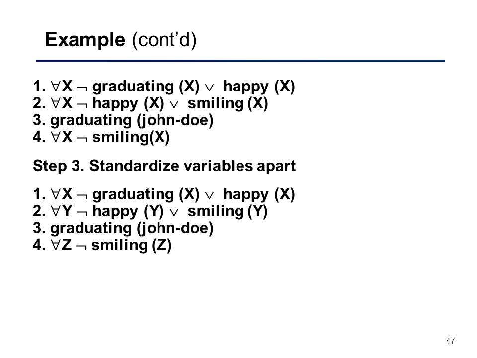 47 Example (cont'd) 1.  X  graduating (X)  happy (X) 2.  X  happy (X)  smiling (X) 3. graduating (john-doe) 4.  X  smiling(X) Step 3. Standard