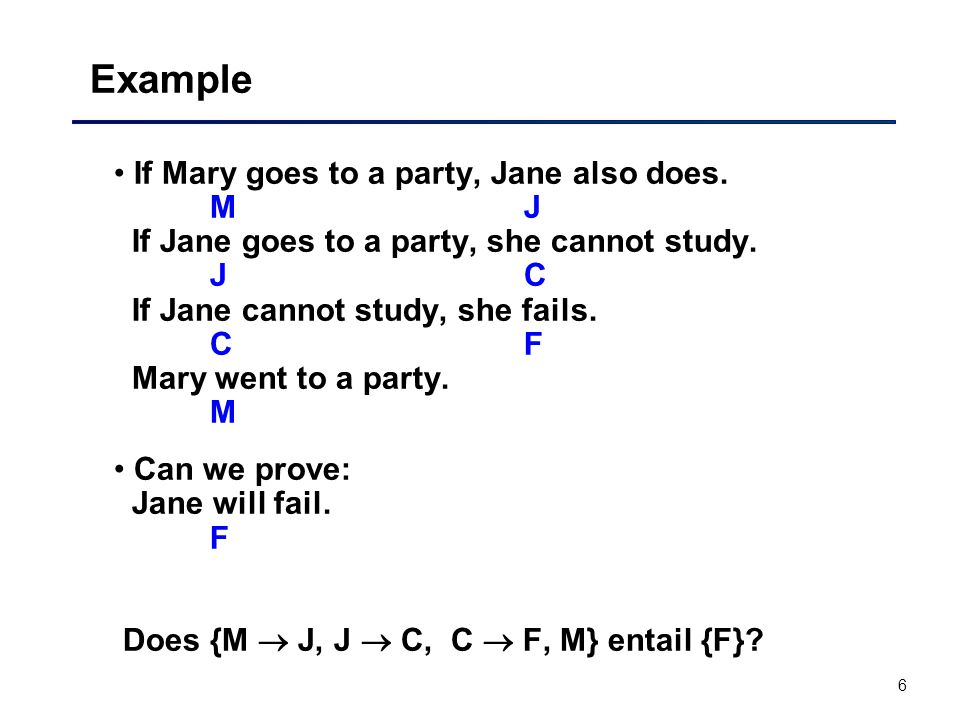6 Example If Mary goes to a party, Jane also does. M J If Jane goes to a party, she cannot study. J C If Jane cannot study, she fails. C F Mary went t