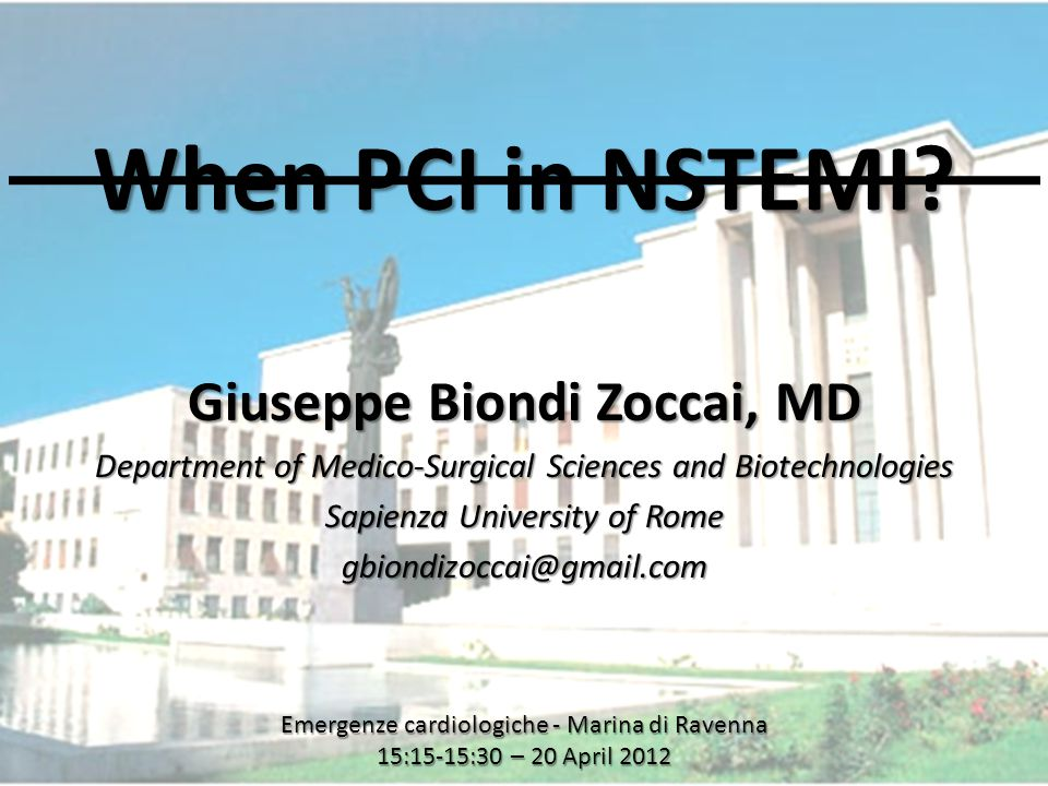 www.metcardio.org When PCI in NSTEMI.