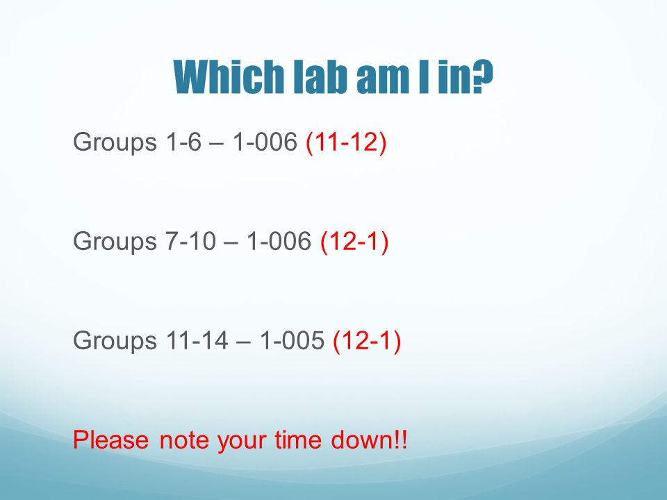 Which lab am I in.
