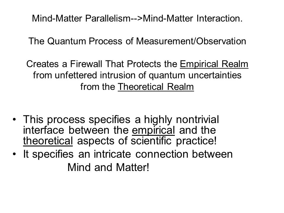 Mind-Matter Parallelism-->Mind-Matter Interaction.