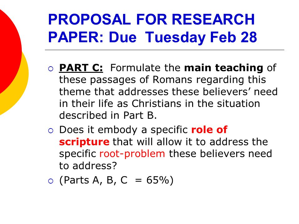 PROPOSAL FOR RESEARCH PAPER: Due Tuesday Feb 28  PART C: Formulate the main teaching of these passages of Romans regarding this theme that addresses