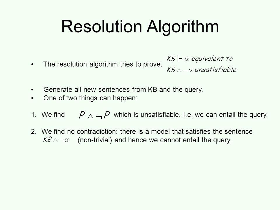 Resolution example KB = (B 1,1  (P 1,2  P 2,1 ))  B 1,1 α =  P 1,2 False in all worlds True!