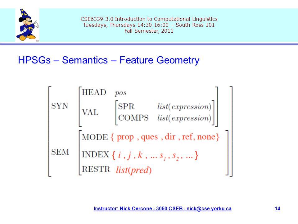 CSE6339 3.0 Introduction to Computational Linguistics Tuesdays, Thursdays 14:30-16:00 – South Ross 101 Fall Semester, 2011 Instructor: Nick Cercone - 3050 CSEB - nick@cse.yorku.ca14 HPSGs – Semantics – Feature Geometry