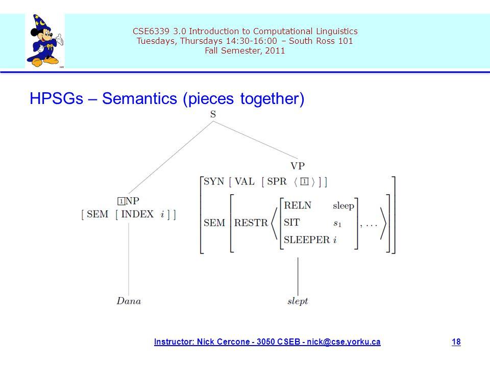 CSE6339 3.0 Introduction to Computational Linguistics Tuesdays, Thursdays 14:30-16:00 – South Ross 101 Fall Semester, 2011 Instructor: Nick Cercone - 3050 CSEB - nick@cse.yorku.ca18 HPSGs – Semantics (pieces together)