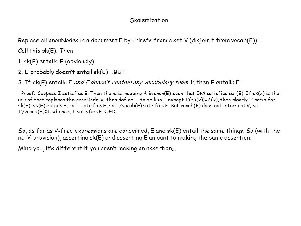 Replace all anonNodes in a document E by urirefs from a set V (disjoin t from vocab(E)) Call this sk(E).