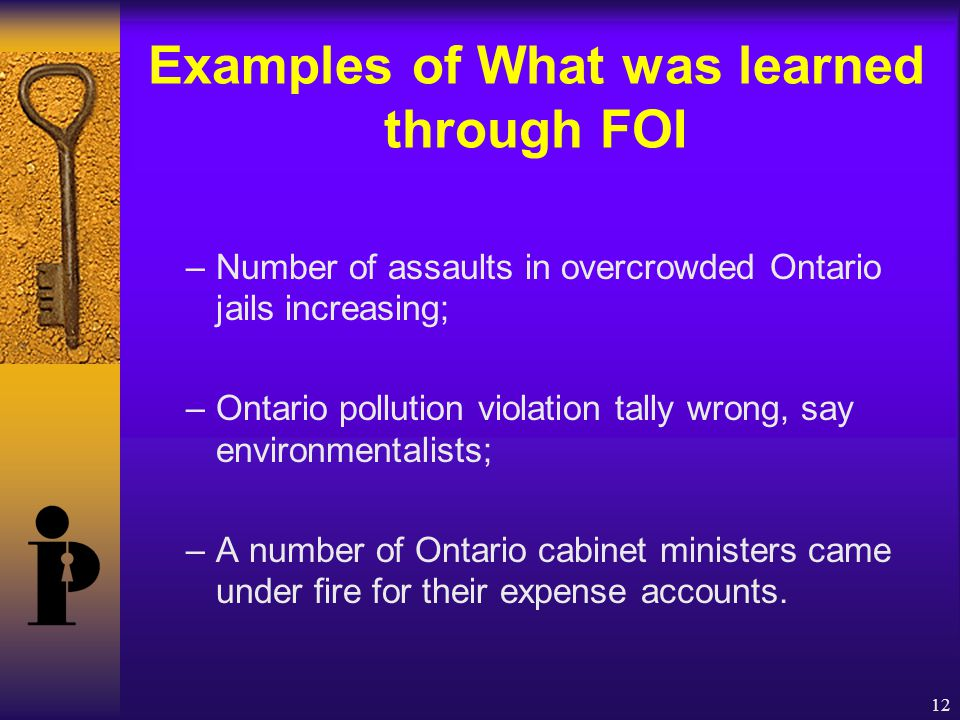 12 Examples of What was learned through FOI –Number of assaults in overcrowded Ontario jails increasing; –Ontario pollution violation tally wrong, say environmentalists; –A number of Ontario cabinet ministers came under fire for their expense accounts.
