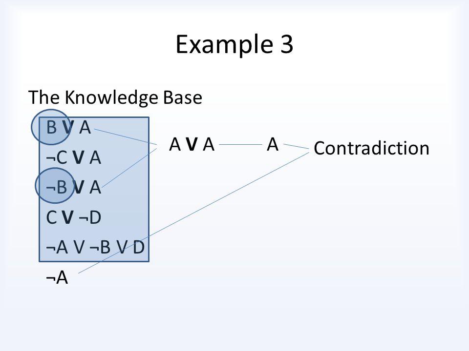 Example 3 B V A ¬C V A ¬B V A C V ¬D ¬A V ¬B V D Does this entail A.
