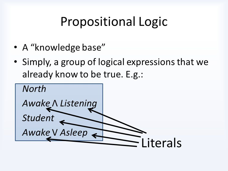 Propositional Logic Logical Connectives form more complex sentences OR: V - True if one of the symbols is true, or both ( Awake V Asleep ) AND: Λ - True if both of the symbols are true ( Awake Λ Listening ) NOT: ¬ ¬Awake, ¬A, ¬B, ¬Student IMPLIES: => P => Q - True unless P is true and Q is false ( Awake Λ Listening ) => ¬Fail