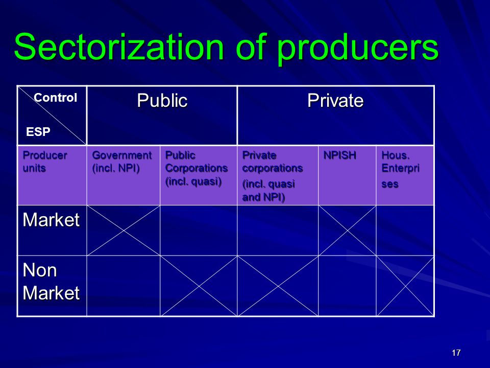 17 Sectorization of producers PublicPrivate Producer units Government (incl.