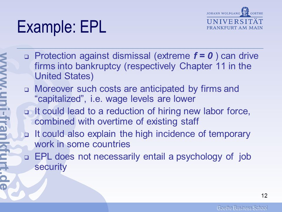 Goethe Business School 12 Example: EPL  Protection against dismissal (extreme f = 0 ) can drive firms into bankruptcy (respectively Chapter 11 in the United States)  Moreover such costs are anticipated by firms and capitalized , i.e.