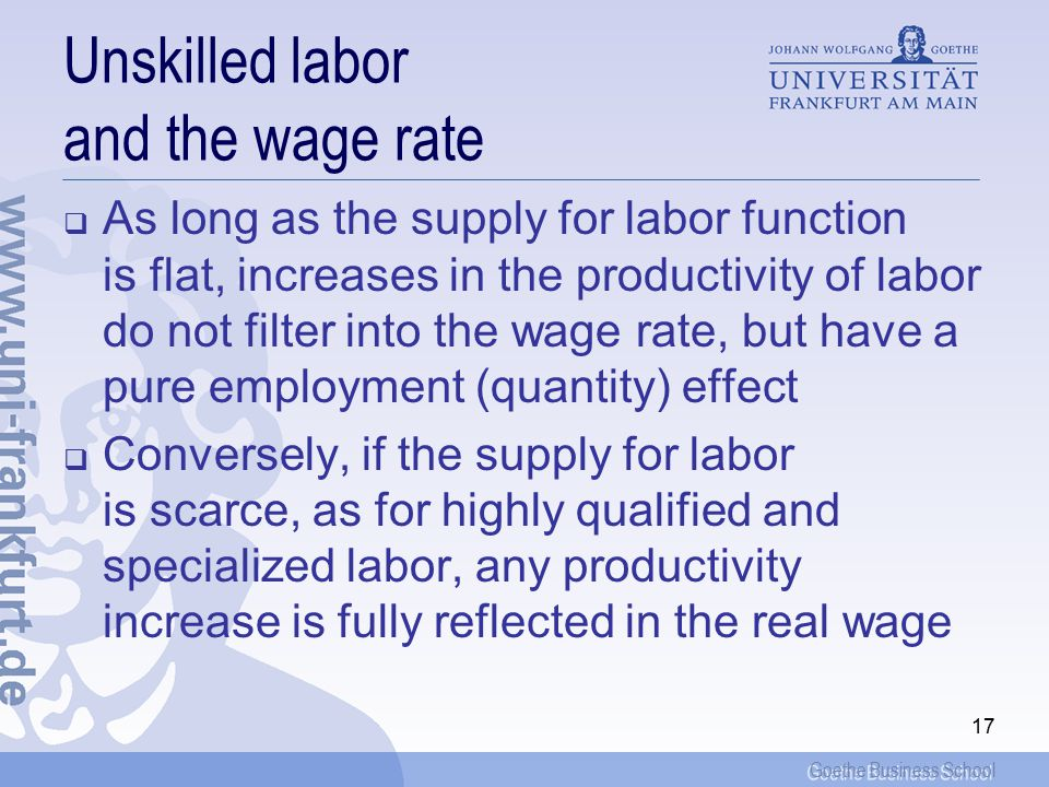 Goethe Business School 17 Unskilled labor and the wage rate  As long as the supply for labor function is flat, increases in the productivity of labor do not filter into the wage rate, but have a pure employment (quantity) effect  Conversely, if the supply for labor is scarce, as for highly qualified and specialized labor, any productivity increase is fully reflected in the real wage