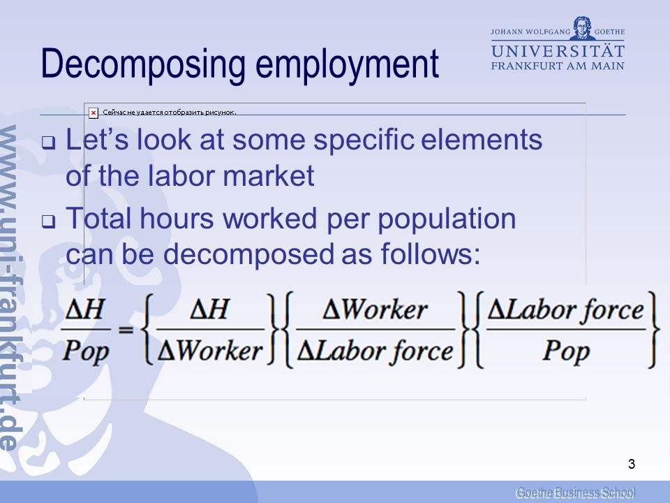 Goethe Business School 3 Decomposing employment  Let's look at some specific elements of the labor market  Total hours worked per population can be decomposed as follows: