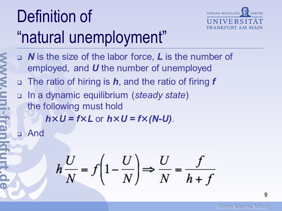 Goethe Business School 9 Definition of natural unemployment  N is the size of the labor force, L is the number of employed, and U the number of unemployed  The ratio of hiring is h, and the ratio of firing f  In a dynamic equilibrium (steady state) the following must hold h×U = f×L or h×U = f×(N-U).