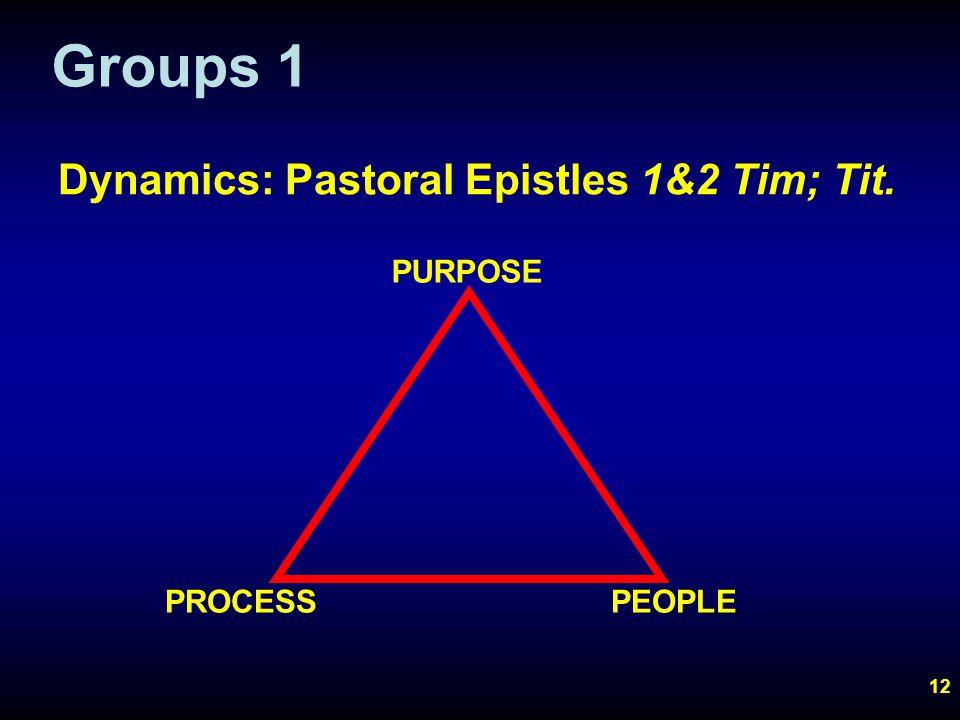 12 Groups 1 PURPOSE Dynamics: Pastoral Epistles 1&2 Tim; Tit. PROCESSPEOPLE