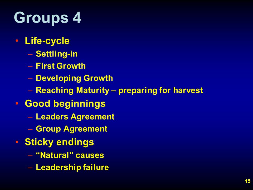 15 Groups 4 Life-cycle –Settling-in –First Growth –Developing Growth –Reaching Maturity – preparing for harvest Good beginnings –Leaders Agreement –Group Agreement Sticky endings – Natural causes –Leadership failure