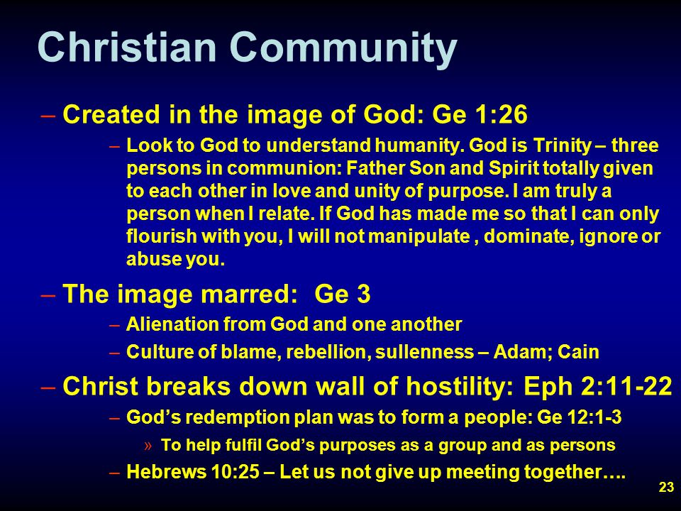 23 Christian Community –Created in the image of God: Ge 1:26 –Look to God to understand humanity.