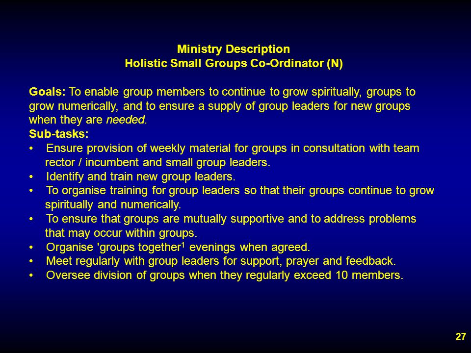 27 Ministry Description Holistic Small Groups Co-Ordinator (N) Goals: To enable group members to continue to grow spiritually, groups to grow numerically, and to ensure a supply of group leaders for new groups when they are needed.