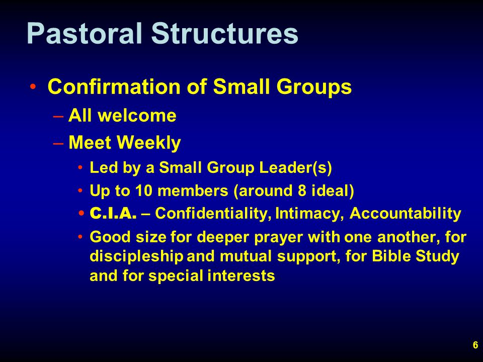 6 Pastoral Structures Confirmation of Small Groups –All welcome –Meet Weekly Led by a Small Group Leader(s) Up to 10 members (around 8 ideal) C.I.A.
