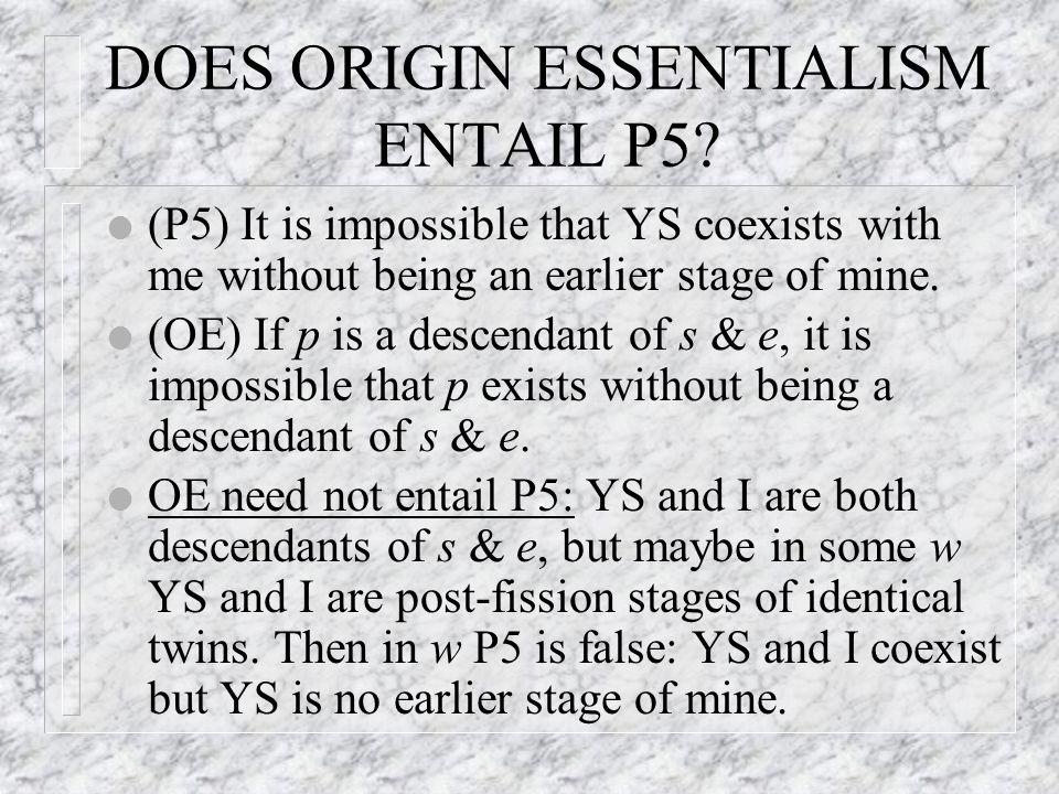 DOES ORIGIN ESSENTIALISM ENTAIL P5.