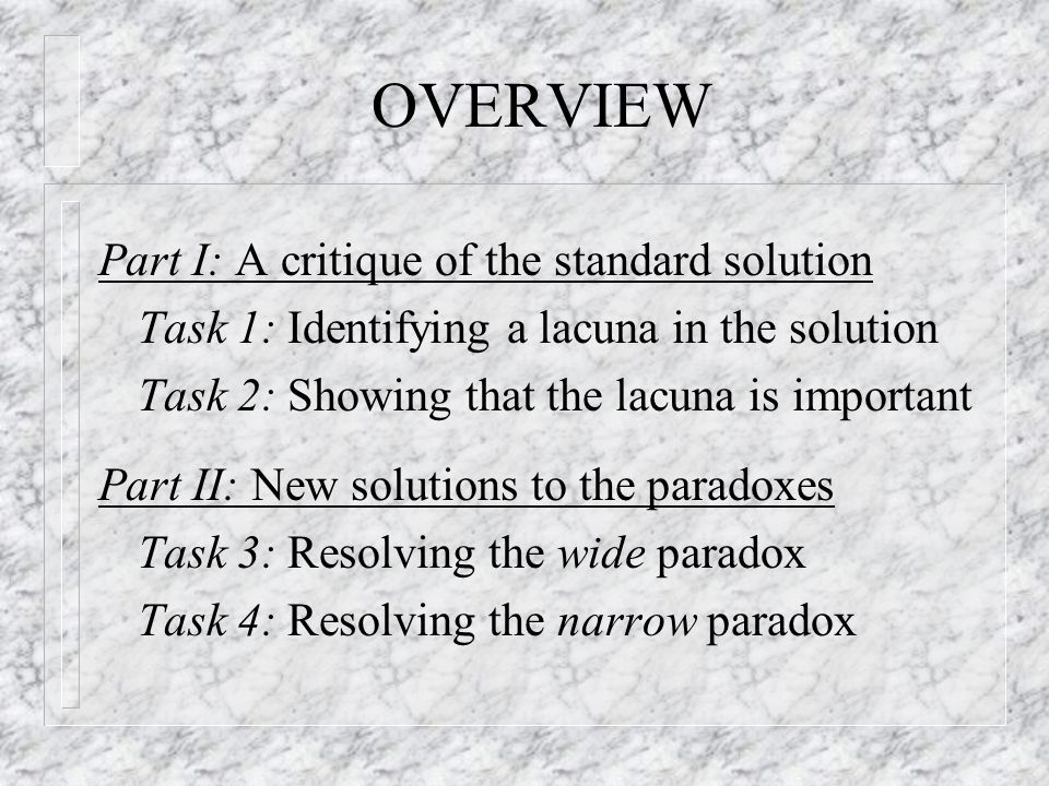 OVERVIEW Part I: A critique of the standard solution Task 1: Identifying a lacuna in the solution Task 2: Showing that the lacuna is important Part II: New solutions to the paradoxes Task 3: Resolving the wide paradox Task 4: Resolving the narrow paradox
