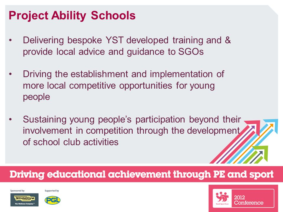 Project Ability Schools Delivering bespoke YST developed training and & provide local advice and guidance to SGOs Driving the establishment and implementation of more local competitive opportunities for young people Sustaining young people's participation beyond their involvement in competition through the development of school club activities
