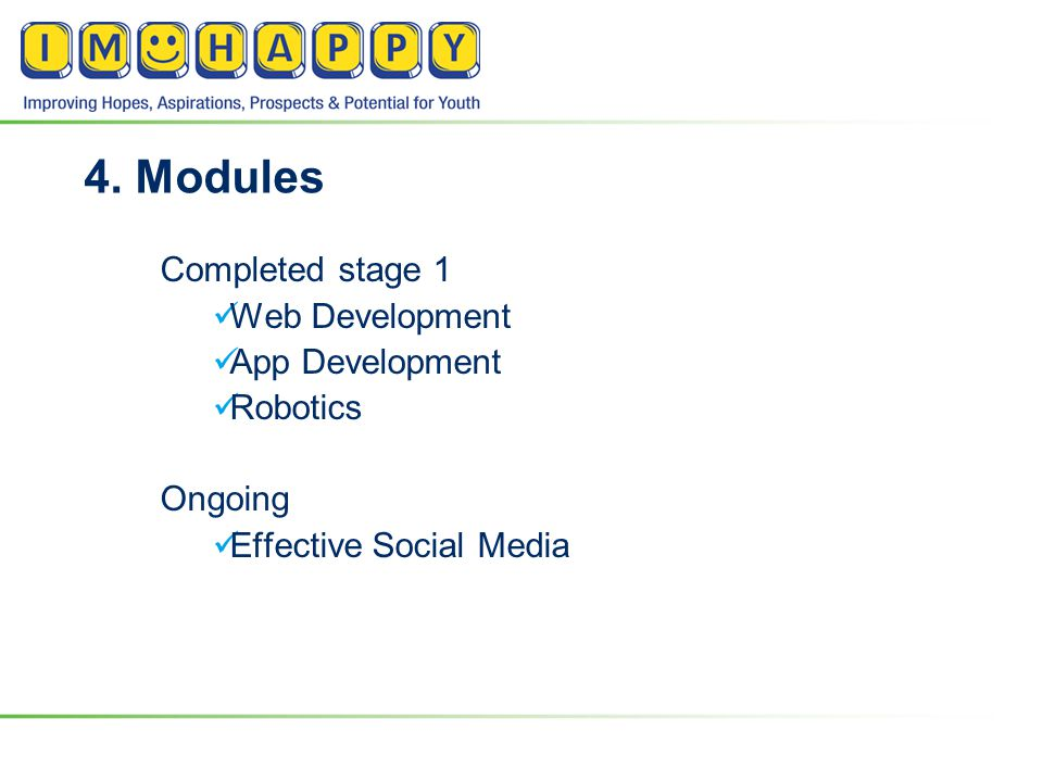4. Modules Completed stage 1 Web Development App Development Robotics Ongoing Effective Social Media