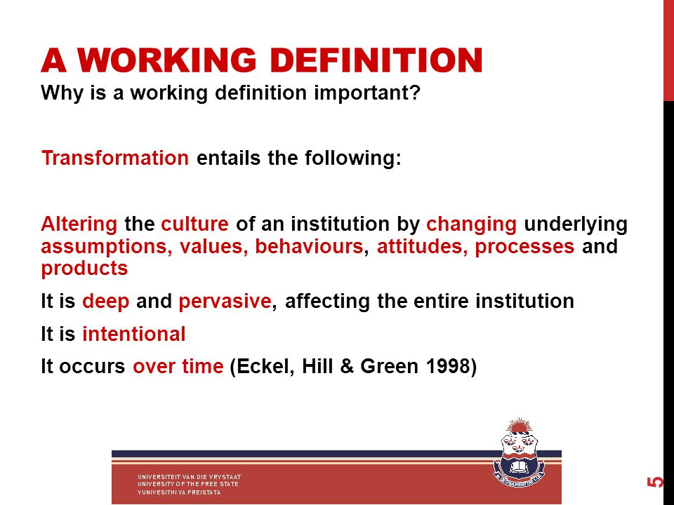 A WORKING DEFINITION Why is a working definition important.