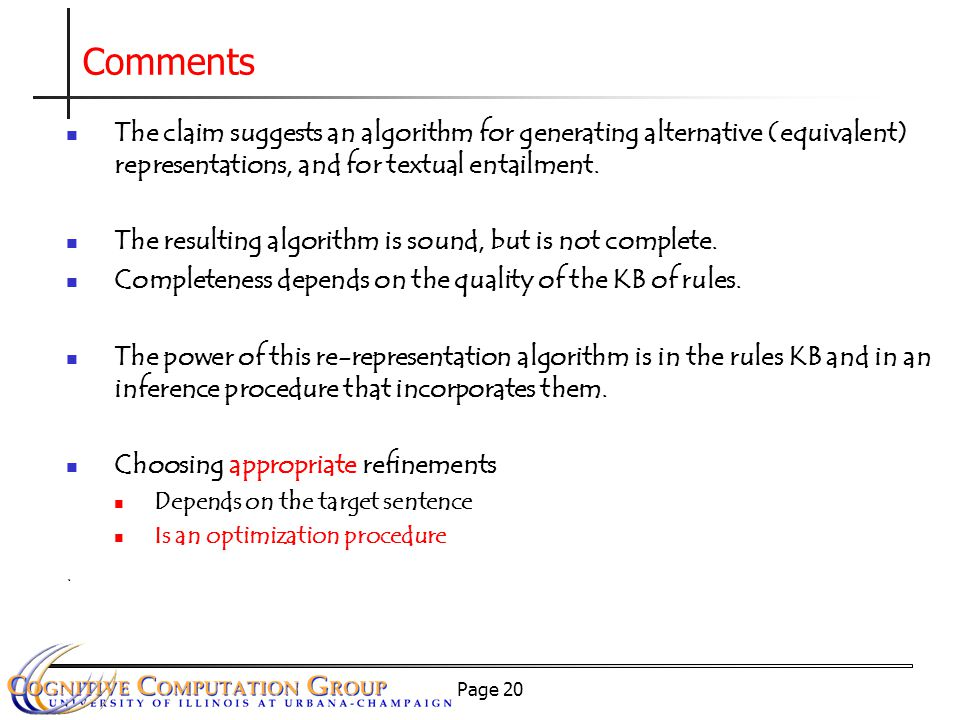 Page 20 The claim suggests an algorithm for generating alternative (equivalent) representations, and for textual entailment.