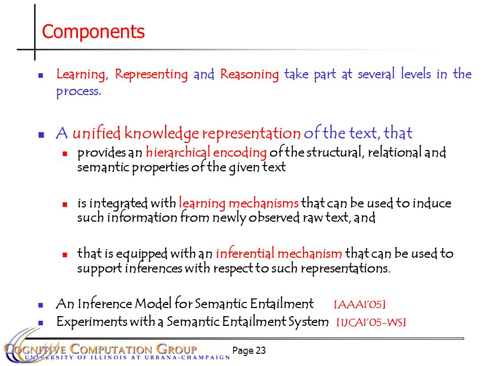 Page 23 Learning, Representing and Reasoning take part at several levels in the process.