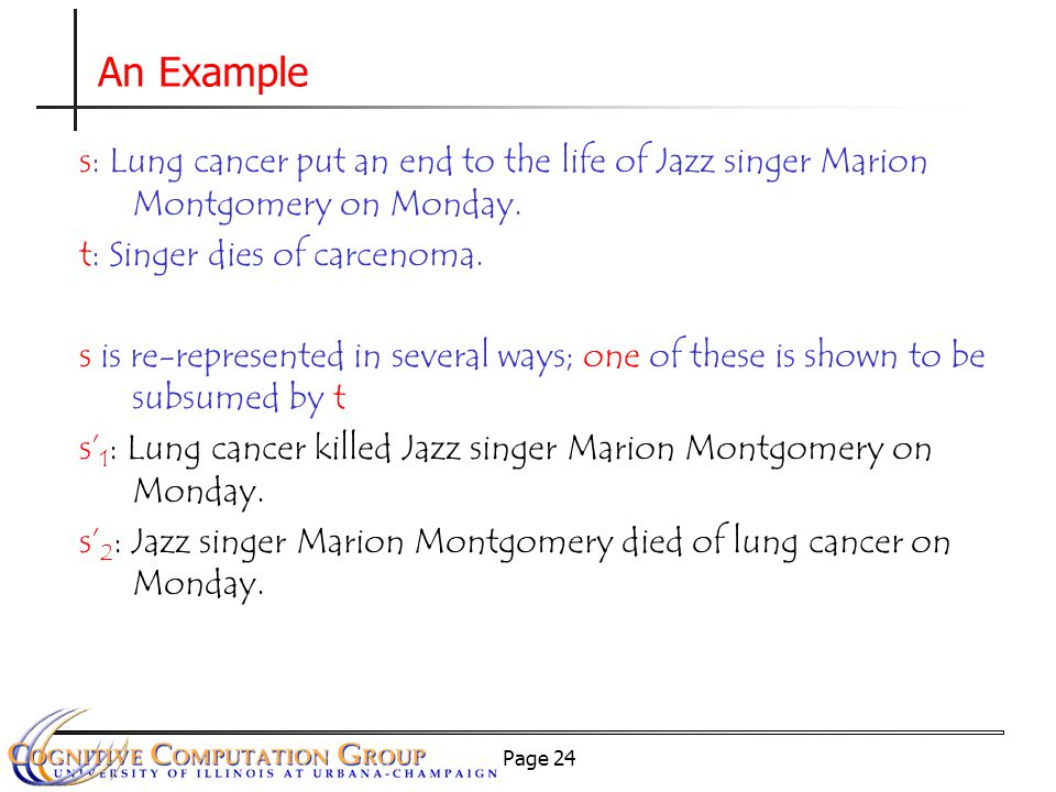 Page 24 An Example s: Lung cancer put an end to the life of Jazz singer Marion Montgomery on Monday.