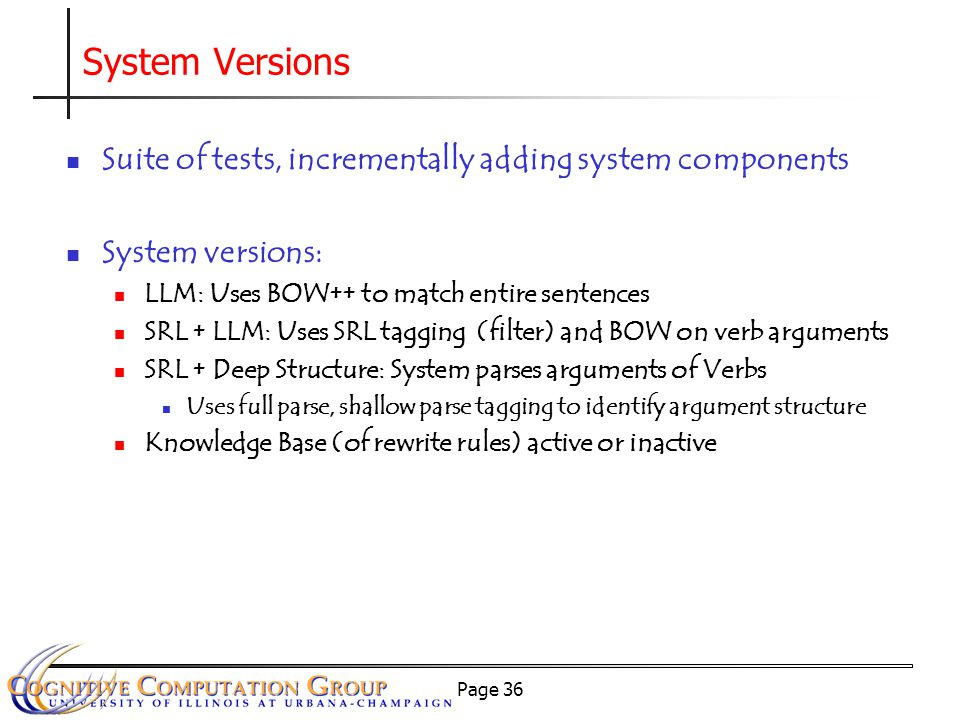 Page 36 System Versions Suite of tests, incrementally adding system components System versions: LLM: Uses BOW++ to match entire sentences SRL + LLM: Uses SRL tagging (filter) and BOW on verb arguments SRL + Deep Structure: System parses arguments of Verbs Uses full parse, shallow parse tagging to identify argument structure Knowledge Base (of rewrite rules) active or inactive