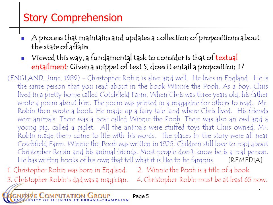 Page 5 A process that maintains and updates a collection of propositions about the state of affairs.
