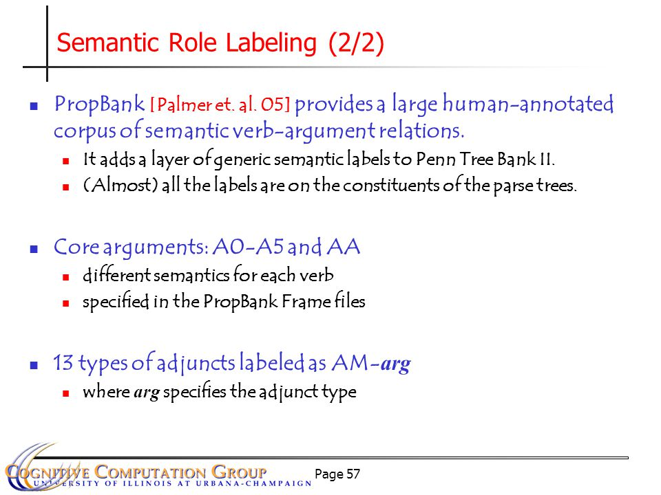 Page 57 Semantic Role Labeling (2/2) PropBank [Palmer et.