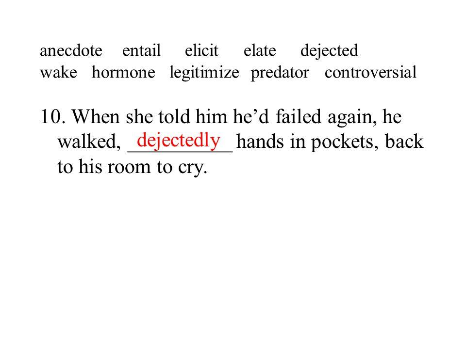 anecdote entail elicit elate dejected wake hormone legitimize predator controversial 10.