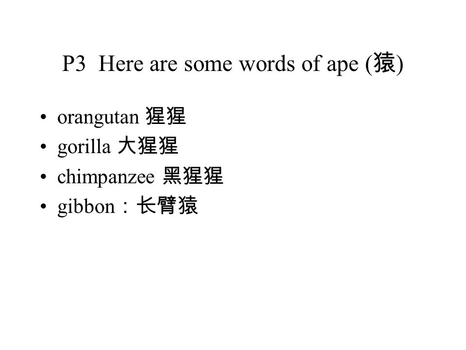 P3 Here are some words of ape ( 猿 ) orangutan 猩猩 gorilla 大猩猩 chimpanzee 黑猩猩 gibbon :长臂猿