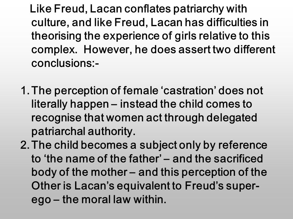 Like Freud, Lacan conflates patriarchy with culture, and like Freud, Lacan has difficulties in theorising the experience of girls relative to this complex.