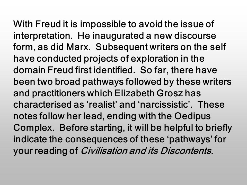 Freud's account of the narcissistic ego solves a problem he faced in describing human instincts.
