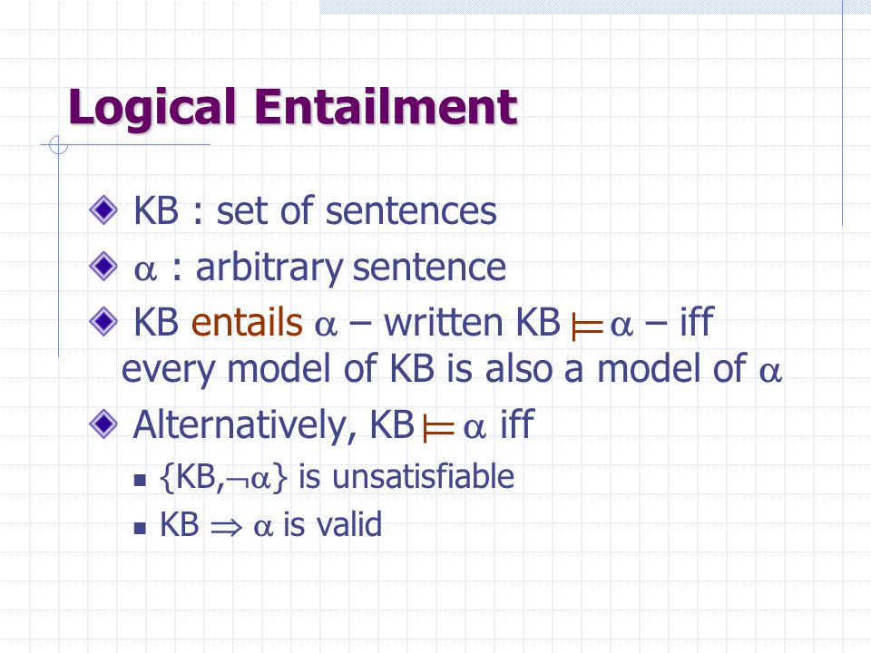 Satisfiability of a KB A KB is satisfiable iff it admits at least one model; otherwise it is unsatisfiable KB1 = {P,  Q  R} is satisfiable KB2 = { 
